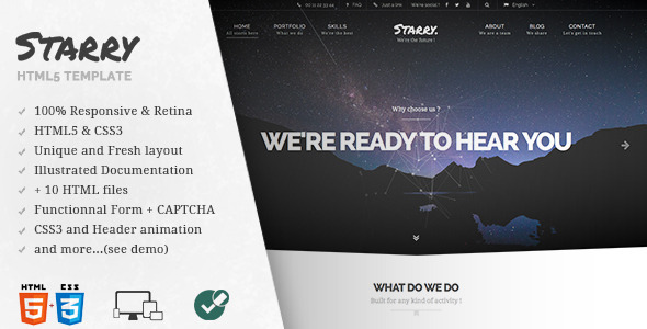 ThemeForest Starry Creative & Easy Responsive HTML5 Template 9525252