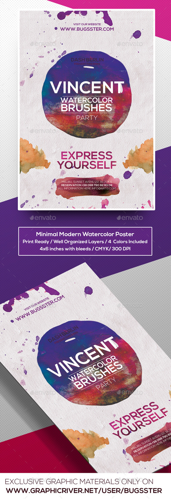 GraphicRiver Minimal Modern Watercolor PosterFlyer Template 9601567
