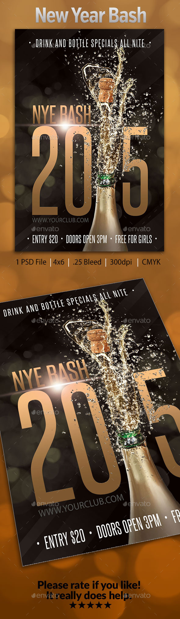 GraphicRiver New Years Eve Bash Flyer 2 9601727