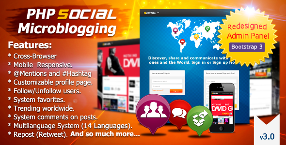 PHP Social Microblogging - CodeCanyon Item for Sale