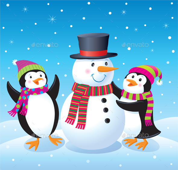 GraphicRiver Penguins Making A Snowman 9602045