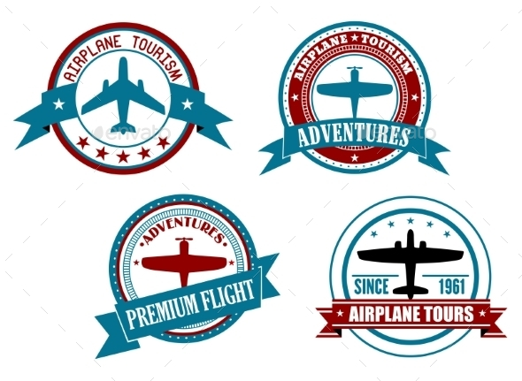 GraphicRiver Airplane Tours and Adventures Badges 9602121