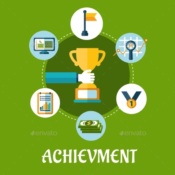 GraphicRiver Business Achievment and Success Flat Icons 9602124