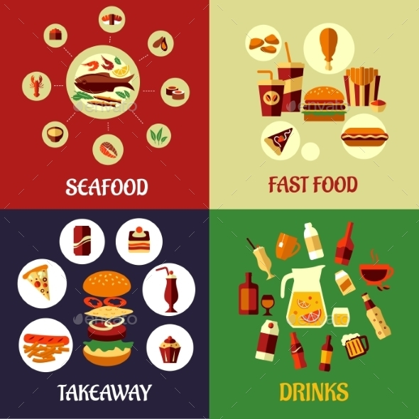 GraphicRiver Seafood Fast Food and Drinks Flat Concept 9602129