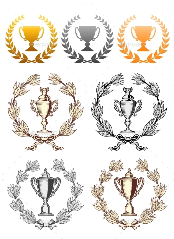 GraphicRiver Cup Trophies with Laurel Wreath 9602130
