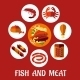 Seafood and Mat Flat Icons - GraphicRiver Item for Sale