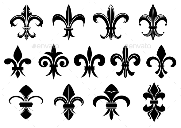 GraphicRiver Black Royal Fleur de Lis Flowers Set 9602191
