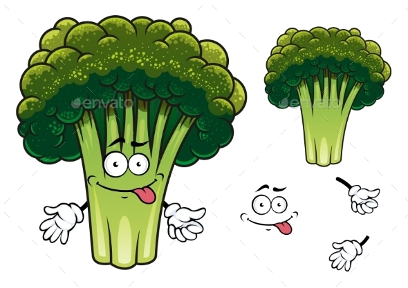 GraphicRiver Cartoon Broccoli Character 9602192