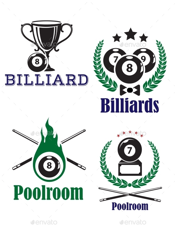 GraphicRiver Billiards or Poolroom Emblems 9602196
