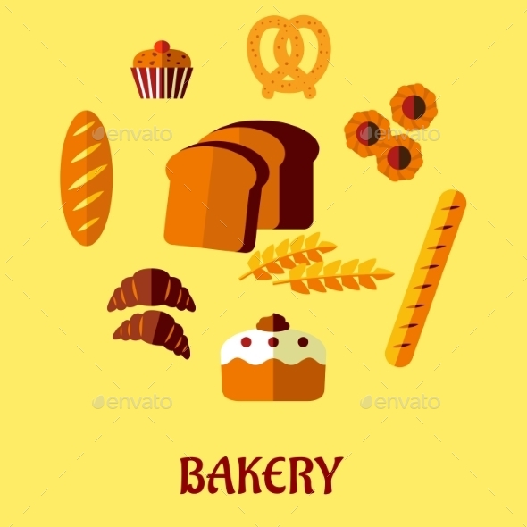GraphicRiver Bakery Flat Icon Set on Yellow Background 9602198