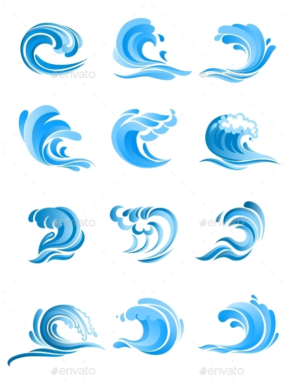 GraphicRiver Blue Sea and Ocean Waves Set 9602206