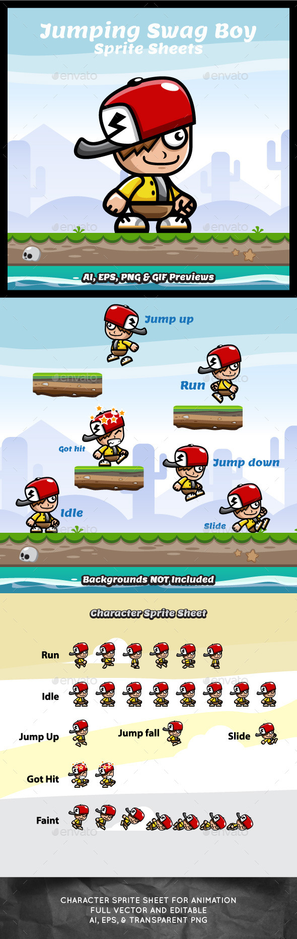 GraphicRiver Running and Jumping Swag Boy Spritesheets 9602209
