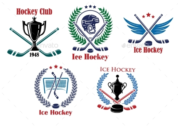 GraphicRiver Ice Hockey Heraldic Emblems and Badges 9602237