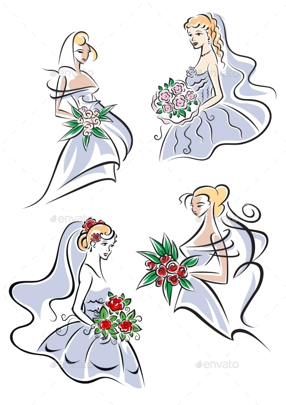 GraphicRiver Bride in Gown holding Flowers 9602251