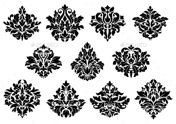 Damask Floral Design Elements