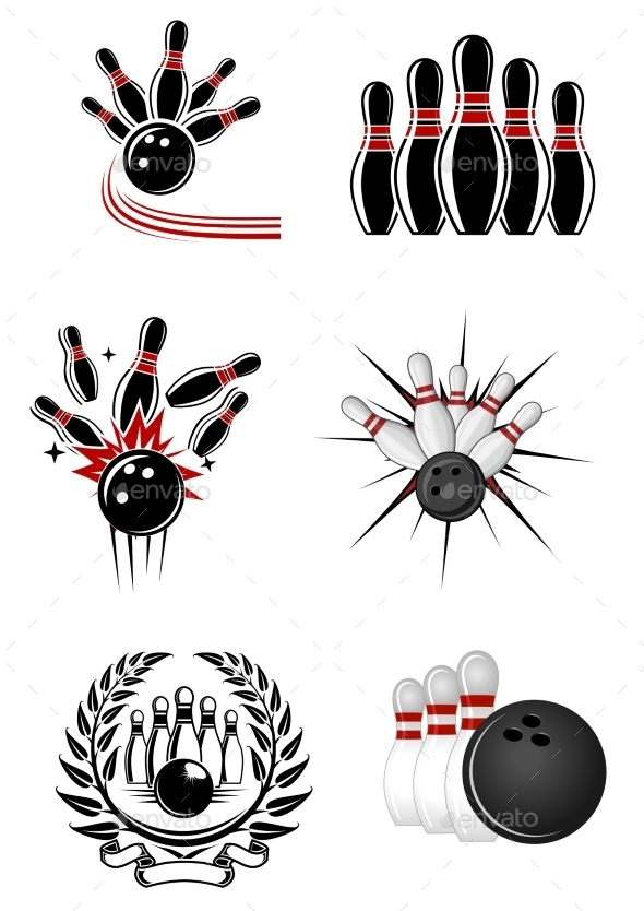 GraphicRiver Bowling Sports Emblems and Symbols 9602258