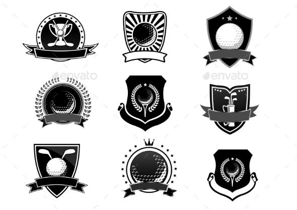 Golf Sports Emblems and Symbols Set