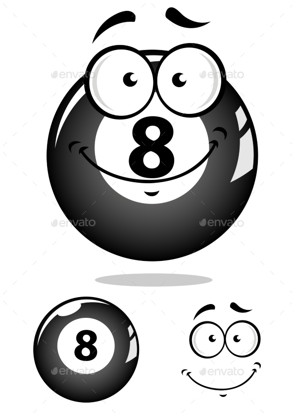 GraphicRiver Eight Pool Ball Cartoon 9602261