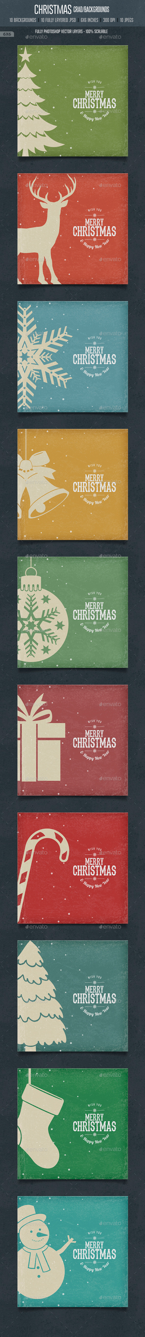 GraphicRiver Vintage Christmas Square Cards Backgrounds 9602298