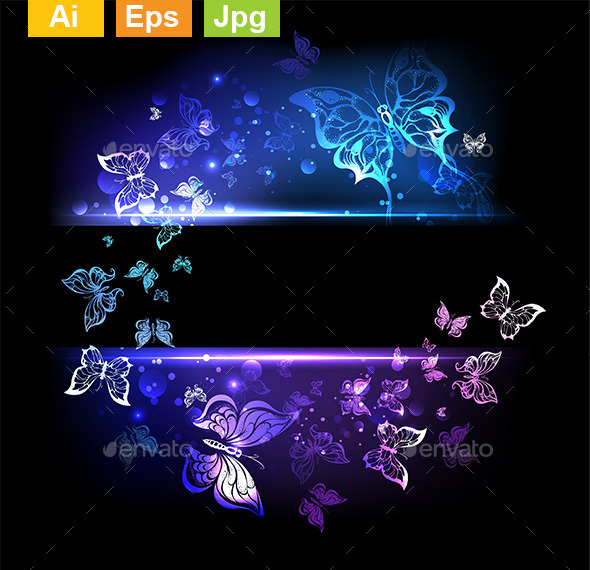GraphicRiver Glowing Butterflies 9602414