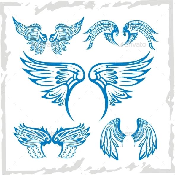GraphicRiver Wings Set Vinyl-Ready Illustration 9603956