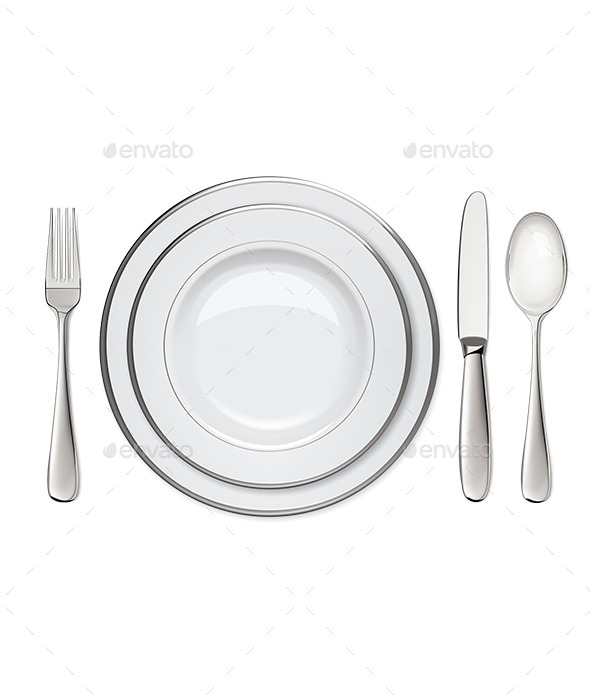 GraphicRiver Empty Plates with Silver 9604032