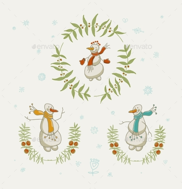GraphicRiver Christmas Wreaths Set with Snowman 9604225