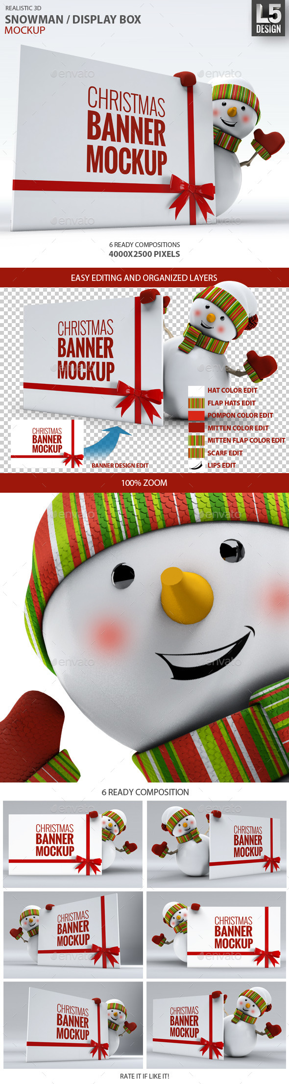 GraphicRiver Snowman Display Box Mock-up 9604235