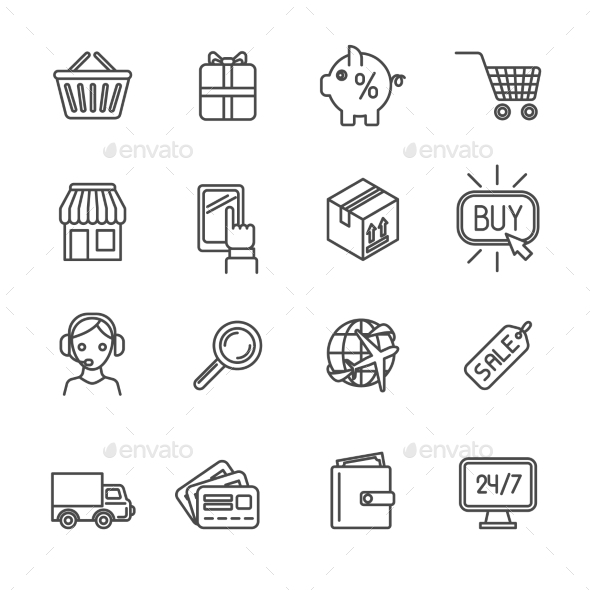 GraphicRiver Shopping e-commerce icons set flat outline 9604236
