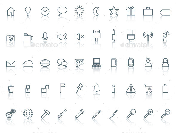 GraphicRiver Fifty icons Simple line with reflection 9604238