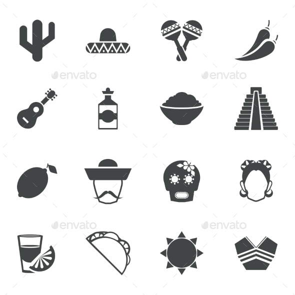 GraphicRiver Mexico black icons set 9604240