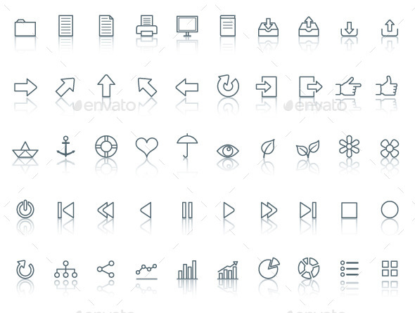 GraphicRiver Fifty icons Simple line with reflection 9604282