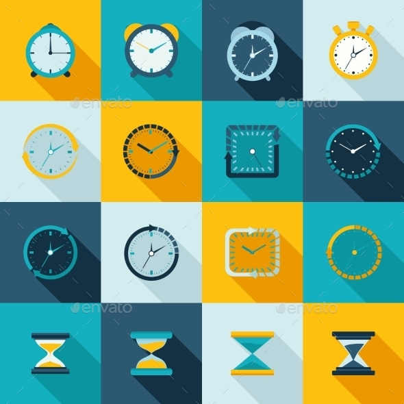 GraphicRiver Clock Icon Flat Set 9604298