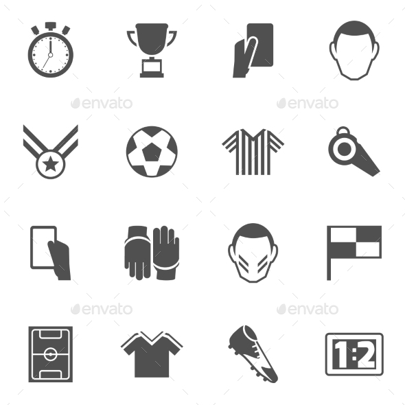 GraphicRiver Soccer icons black 9604299
