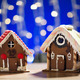 closeup of beautiful gingerbread houses at home - PhotoDune Item for Sale