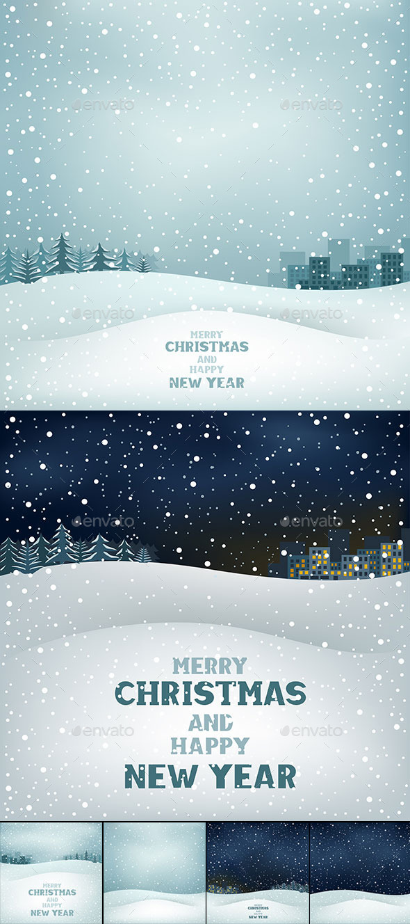 GraphicRiver Christmas Winter Landscape Background 9605572