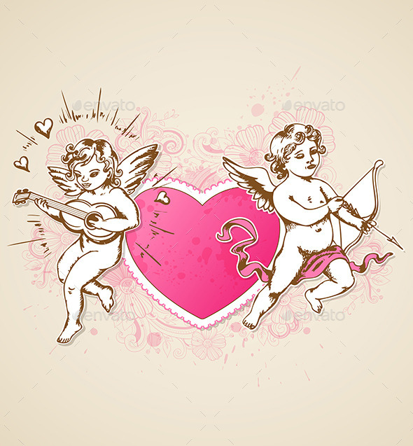 GraphicRiver Pink Heart and Cupids 9606049