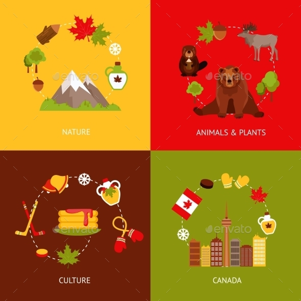 GraphicRiver Canada Flat Icons Set 9606063