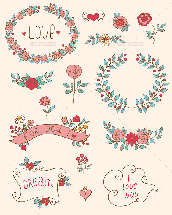 GraphicRiver Romantic Doodle Elements 9606104