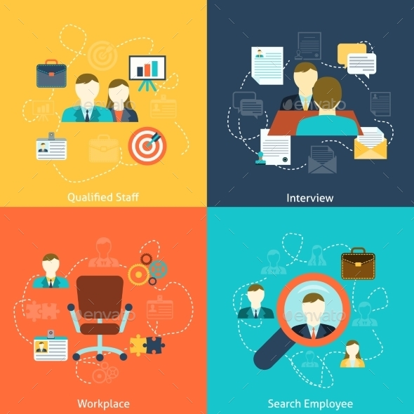 GraphicRiver Human Resources Flat Icons Composition 9606111