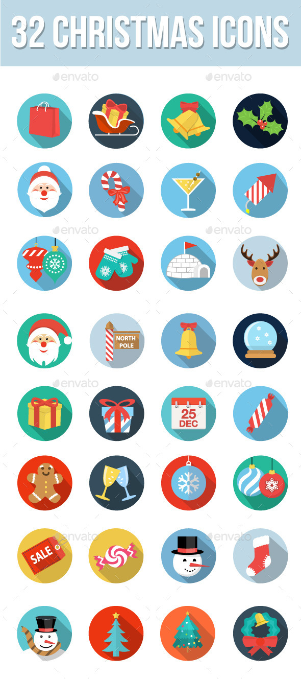 GraphicRiver 32 Christmas Icons 9549447