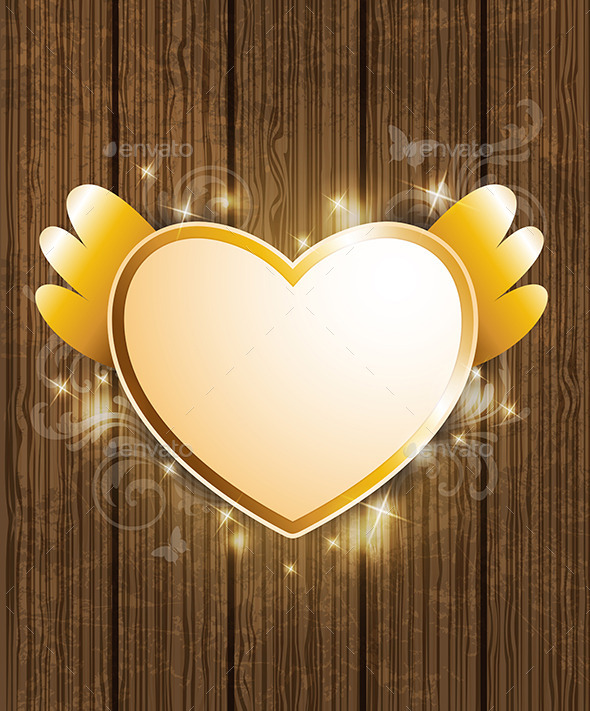 GraphicRiver Golden Heart for Valentine s Day 9606143