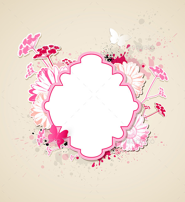 GraphicRiver Label with Pink Flowers and Butterflies 9606178