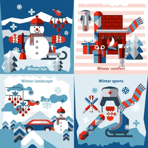 GraphicRiver Winter Flat Icons Set 9606224