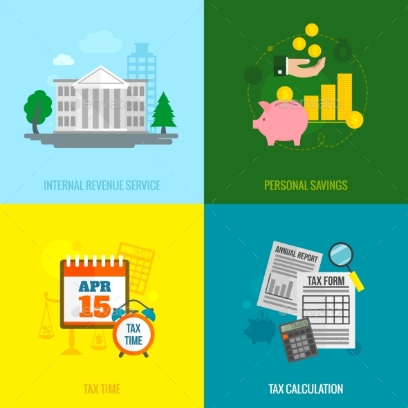 GraphicRiver Tax Flat Set 9606231