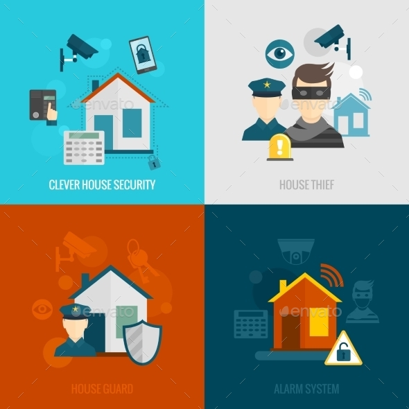 GraphicRiver Home Security Flat Set 9606234