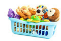 Soft toys in a plastic container on white background. - PhotoDune Item for Sale