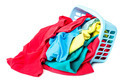 Clothing with a blue container for washing on white background. - PhotoDune Item for Sale
