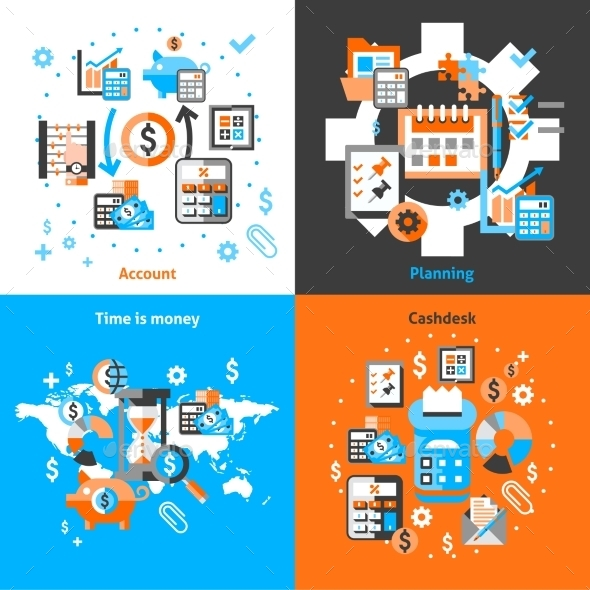 GraphicRiver Accounting Icons Set Flat 9606249