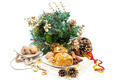 Baked apples with nuts and cinnamon and Christmas decorations. - PhotoDune Item for Sale